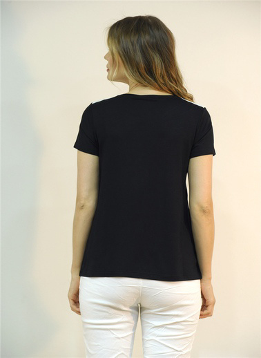Optique Knitwear Kelebek Desenli Bisiklet Yaka Kısa Kol Penye Bluz Siyah